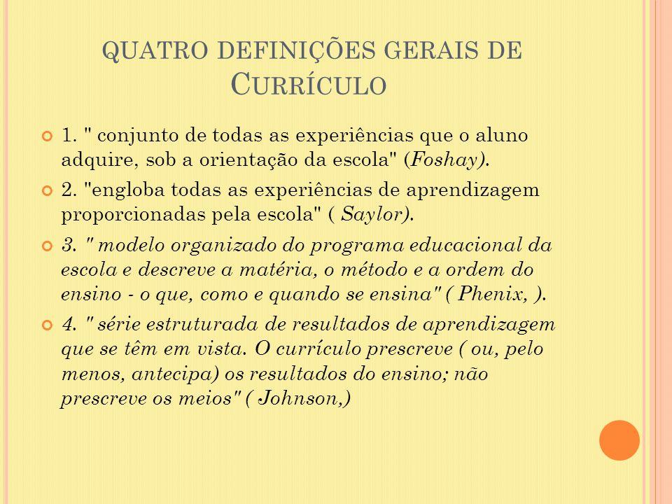 quatro definições gerais de Currículo
