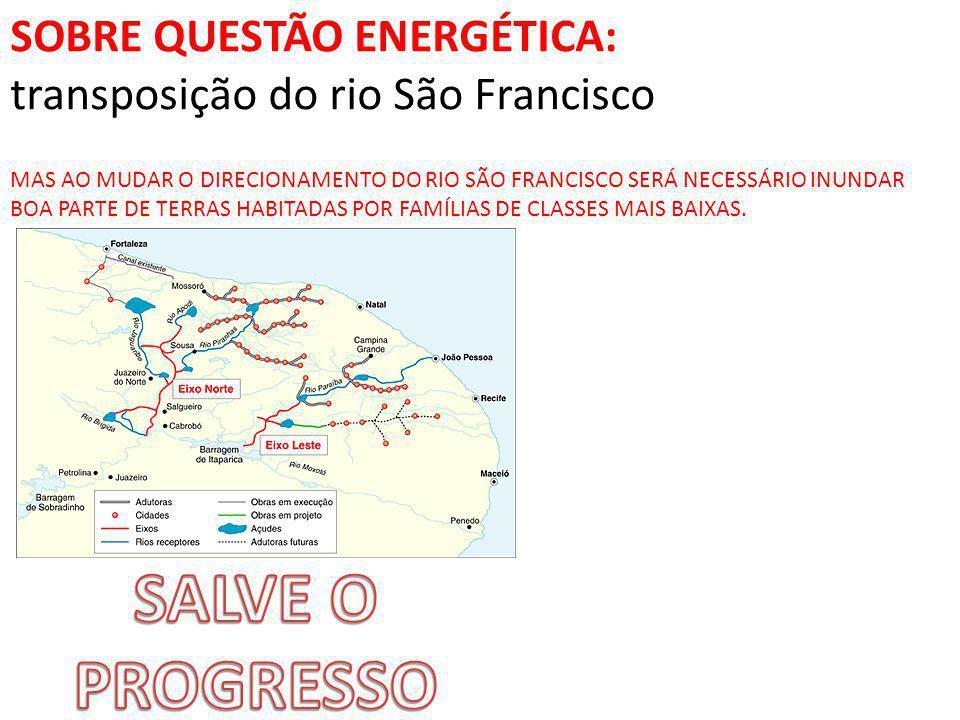 SALVE O PROGRESSO SOBRE QUESTÃO ENERGÉTICA:
