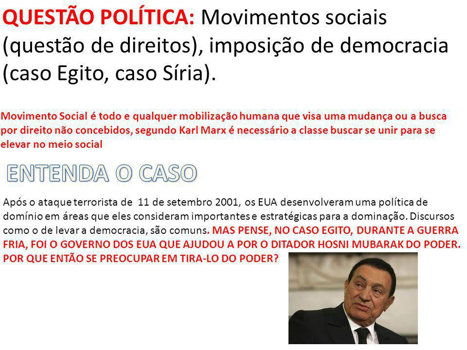 QUESTÃO POLÍTICA: Movimentos sociais (questão de direitos), imposição de democracia (caso Egito, caso Síria).