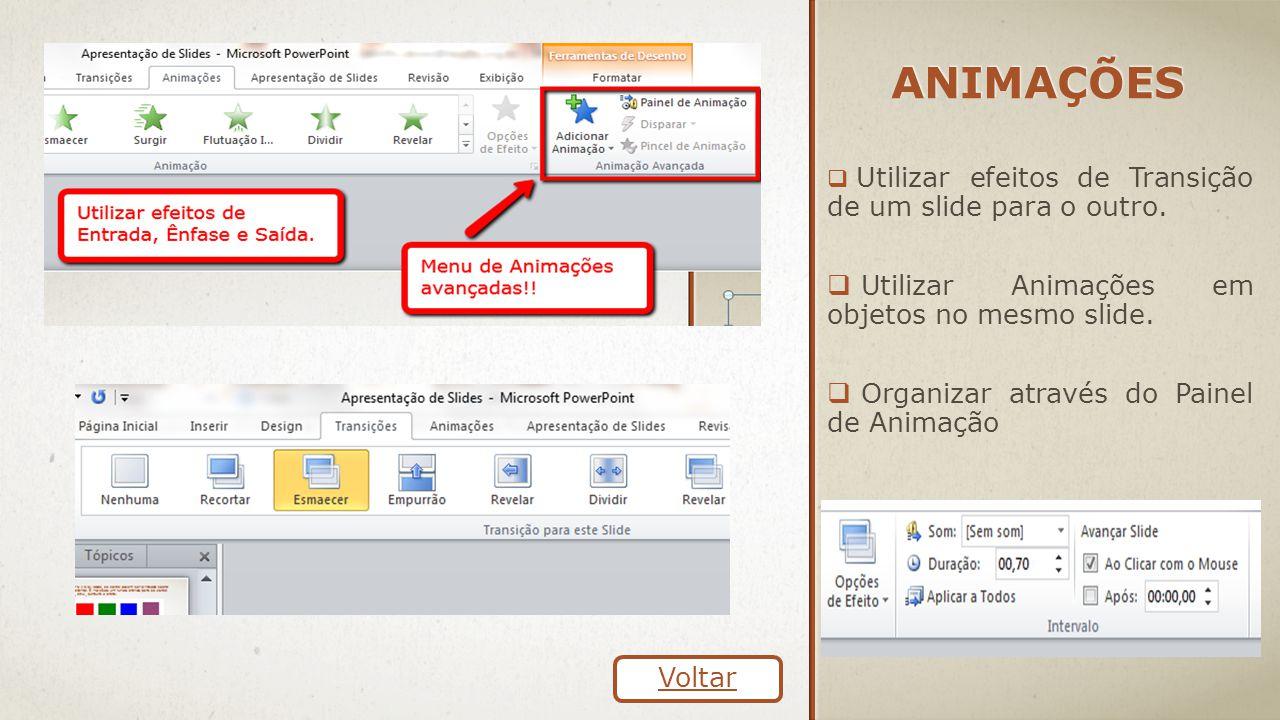 Animações Utilizar Animações em objetos no mesmo slide.