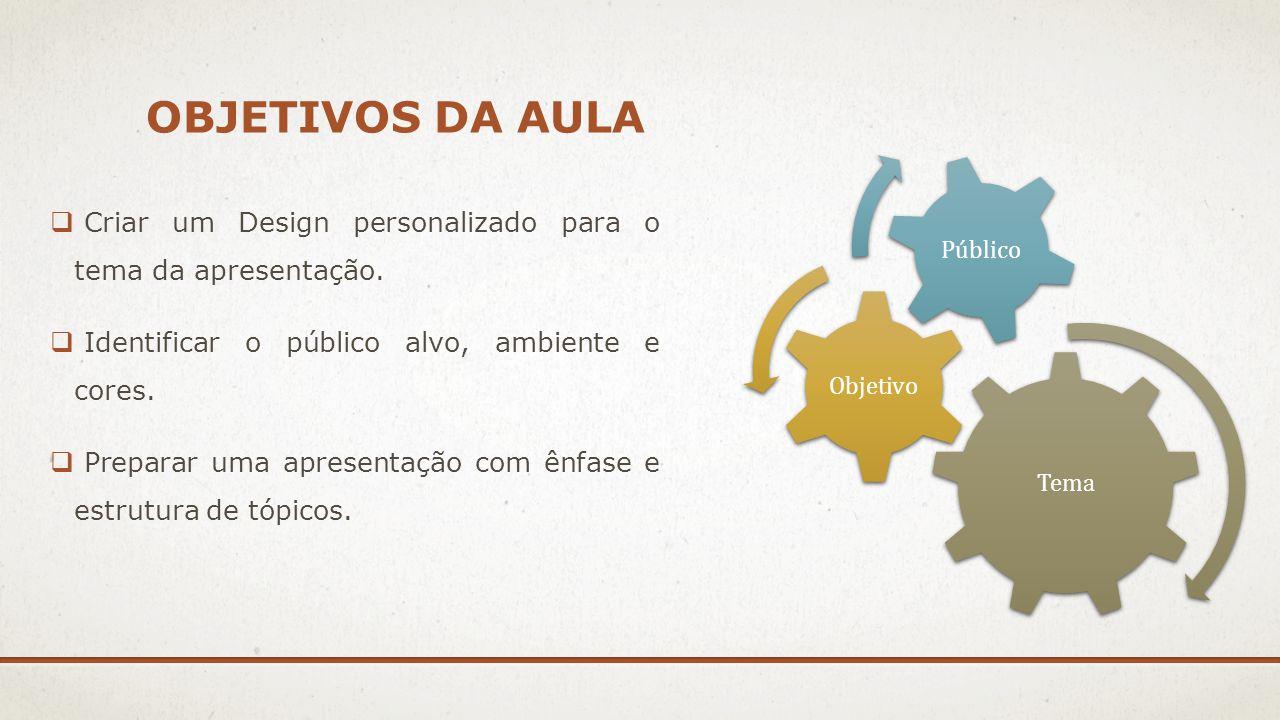 Objetivos da aula Tema. Objetivo. Público. Criar um Design personalizado para o tema da apresentação.