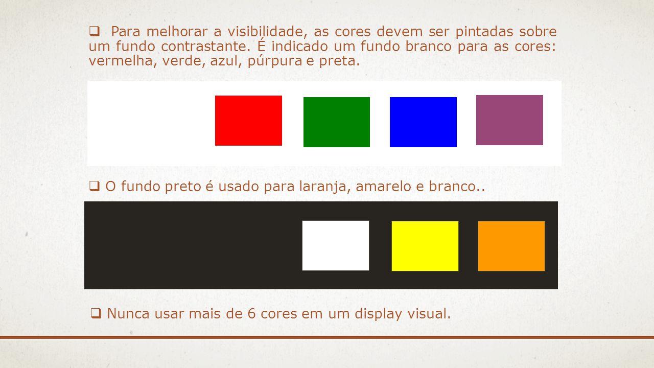 Para melhorar a visibilidade, as cores devem ser pintadas sobre um fundo contrastante. É indicado um fundo branco para as cores: vermelha, verde, azul, púrpura e preta.