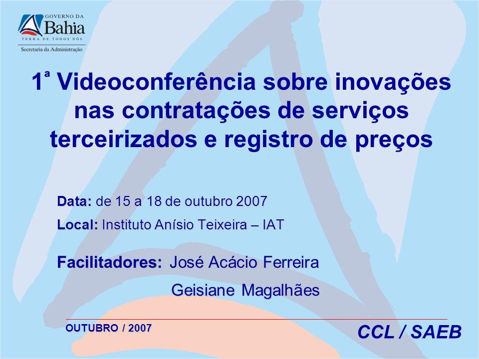 1ª Videoconferência sobre inovações nas contratações de serviços terceirizados e registro de preços