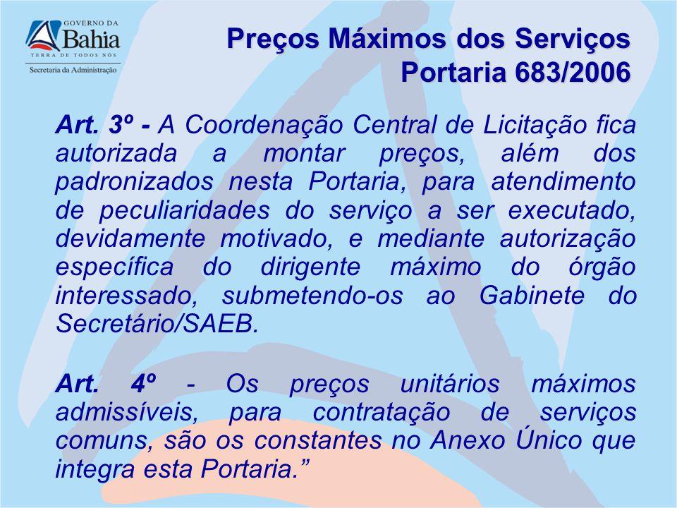 Preços Máximos dos Serviços Portaria 683/2006