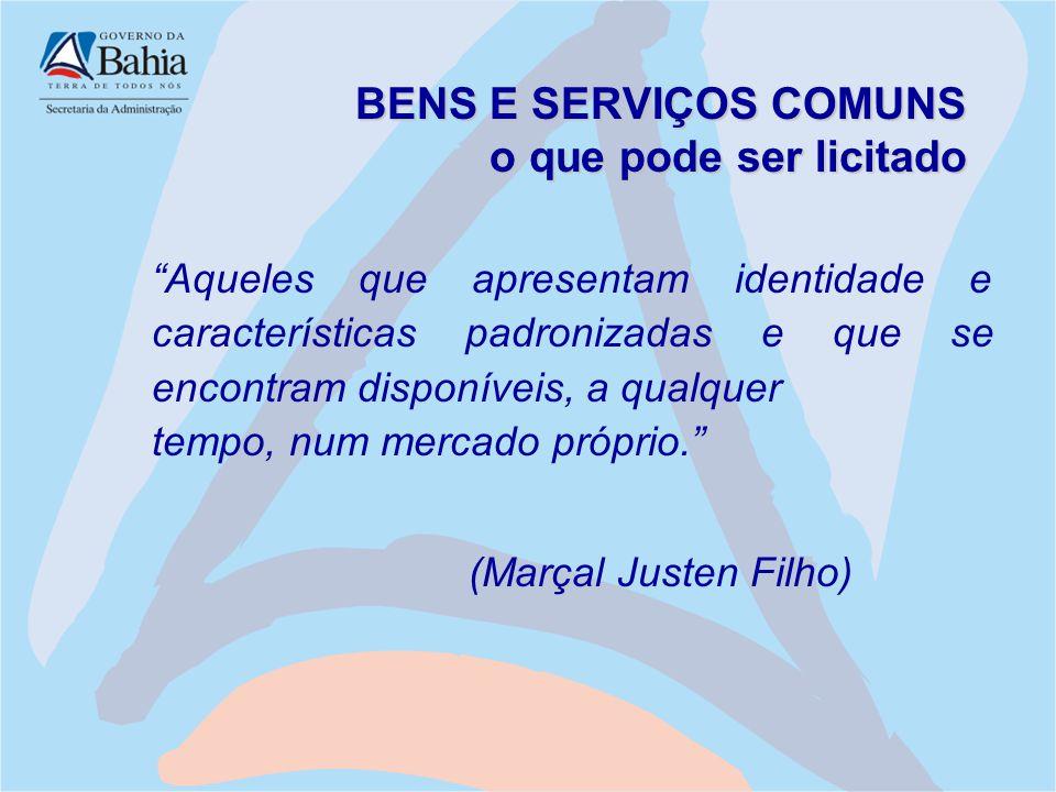 BENS E SERVIÇOS COMUNS o que pode ser licitado