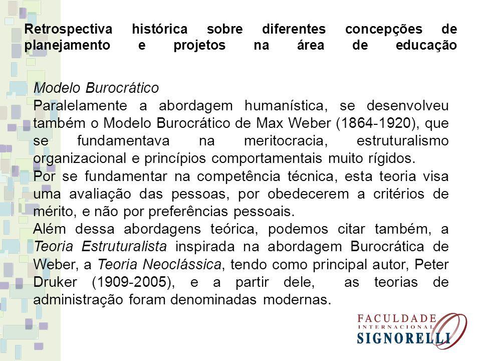 Retrospectiva histórica sobre diferentes concepções de planejamento e projetos na área de educação