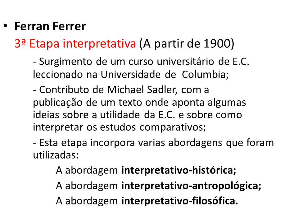 3ª Etapa interpretativa (A partir de 1900)