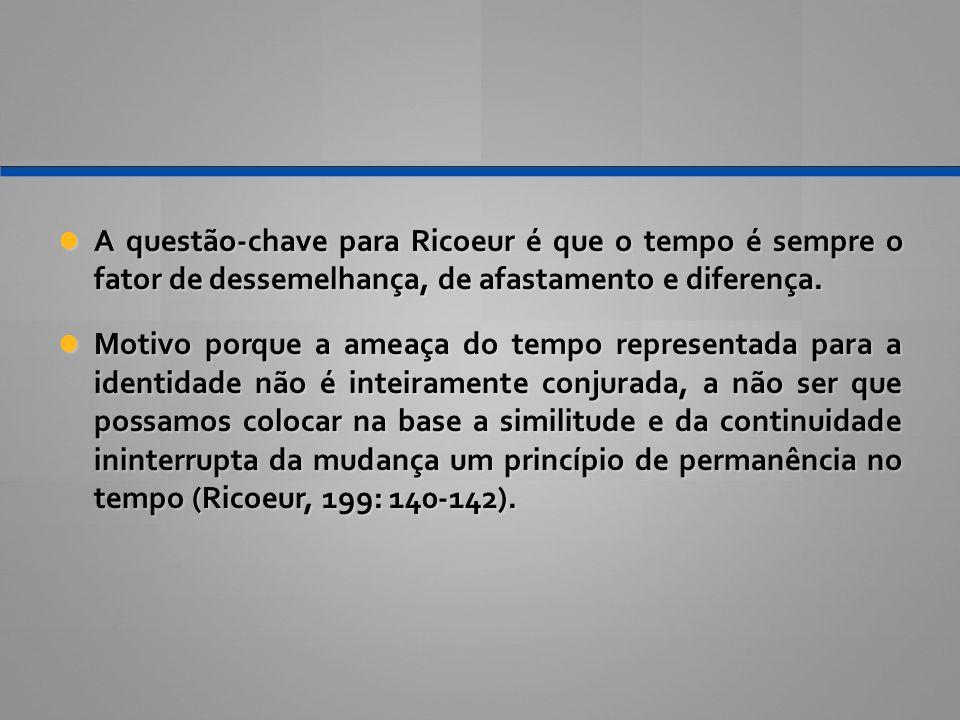 A questão-chave para Ricoeur é que o tempo é sempre o fator de dessemelhança, de afastamento e diferença.