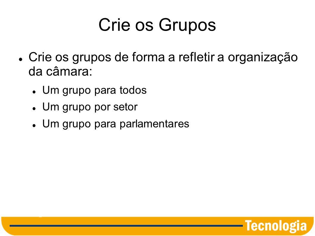 Crie os Grupos Crie os grupos de forma a refletir a organização da câmara: Um grupo para todos. Um grupo por setor.