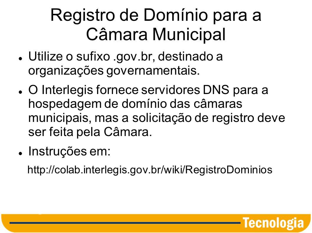 Registro de Domínio para a Câmara Municipal