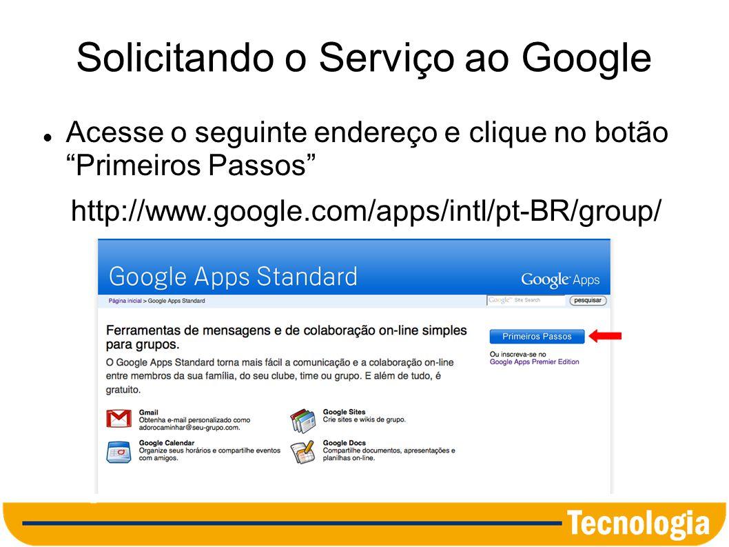 Solicitando o Serviço ao Google
