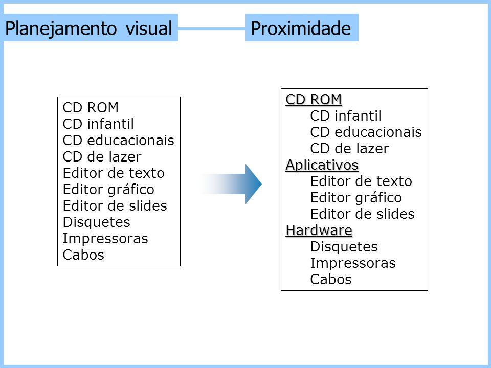 Planejamento visual Proximidade CD ROM CD infantil CD educacionais