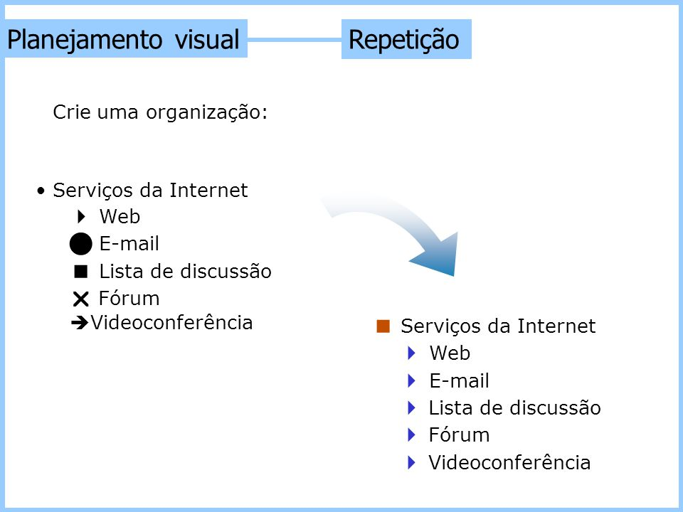 Planejamento visual Repetição  Web  E-mail  Lista de discussão