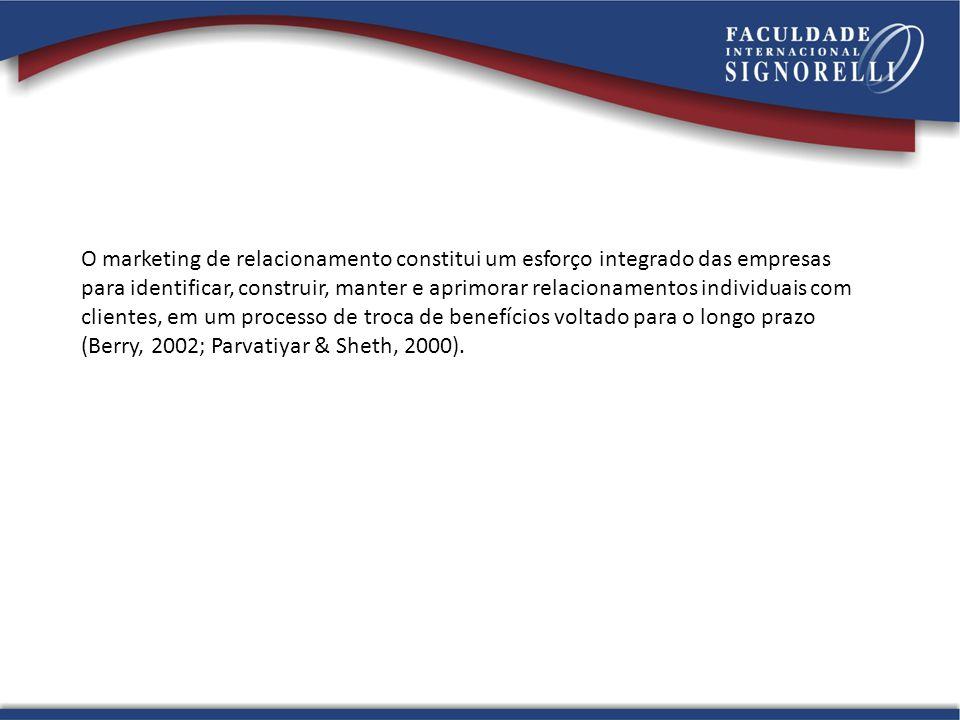 O marketing de relacionamento constitui um esforço integrado das empresas
