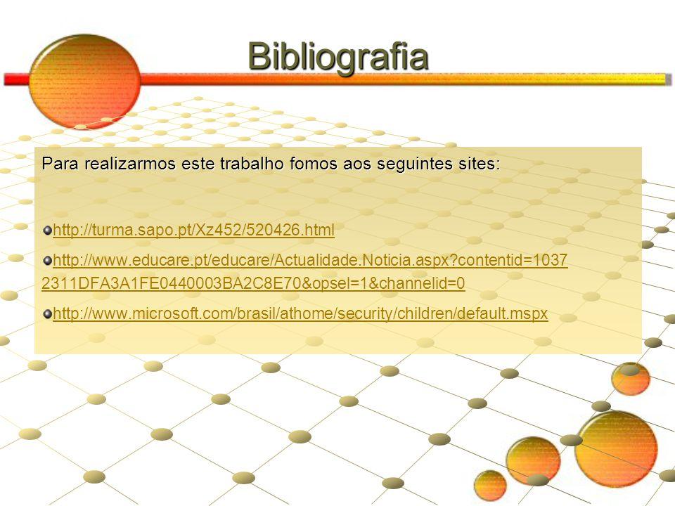 Bibliografia Para realizarmos este trabalho fomos aos seguintes sites: