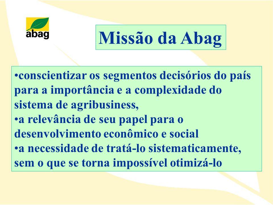 Missão da Abag conscientizar os segmentos decisórios do país para a importância e a complexidade do sistema de agribusiness,