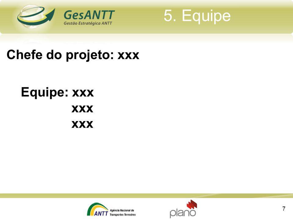 5. Equipe Chefe do projeto: xxx Equipe: xxx xxx xxx