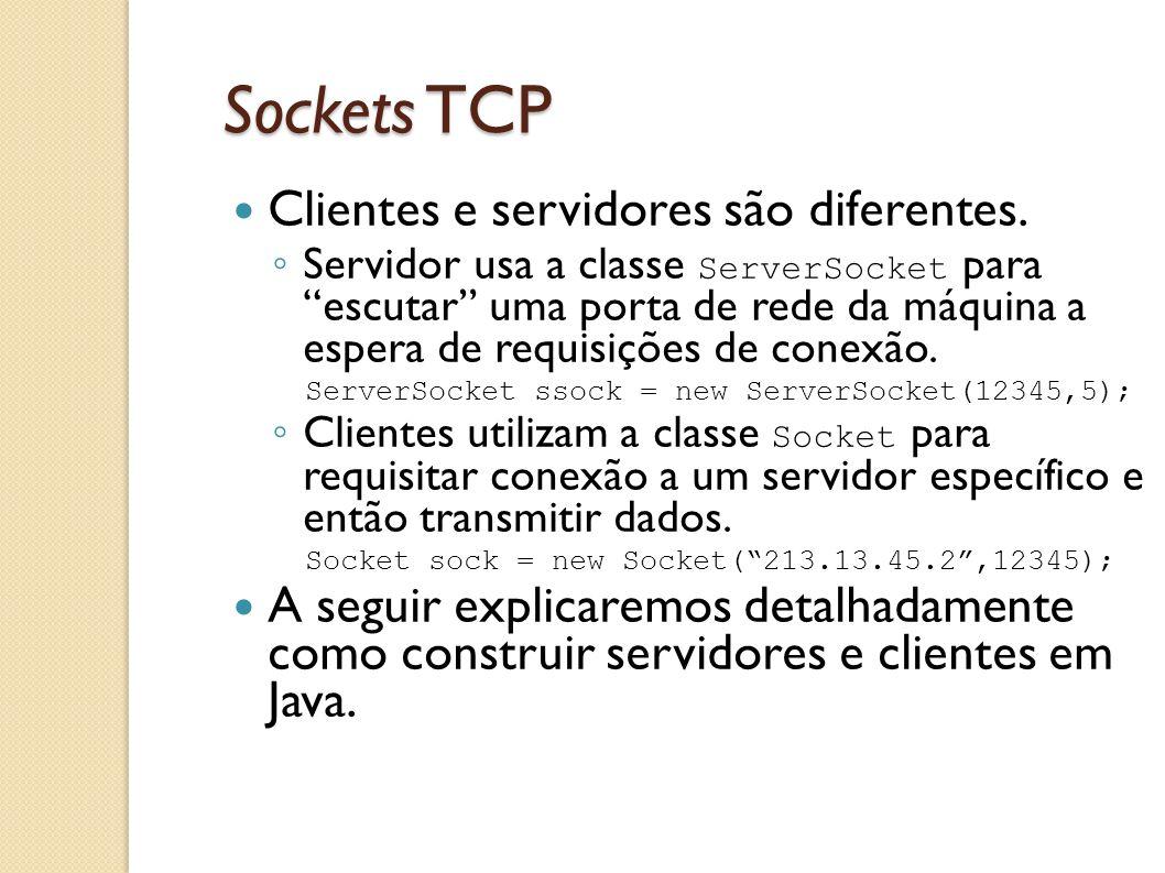 Sockets TCP Clientes e servidores são diferentes.