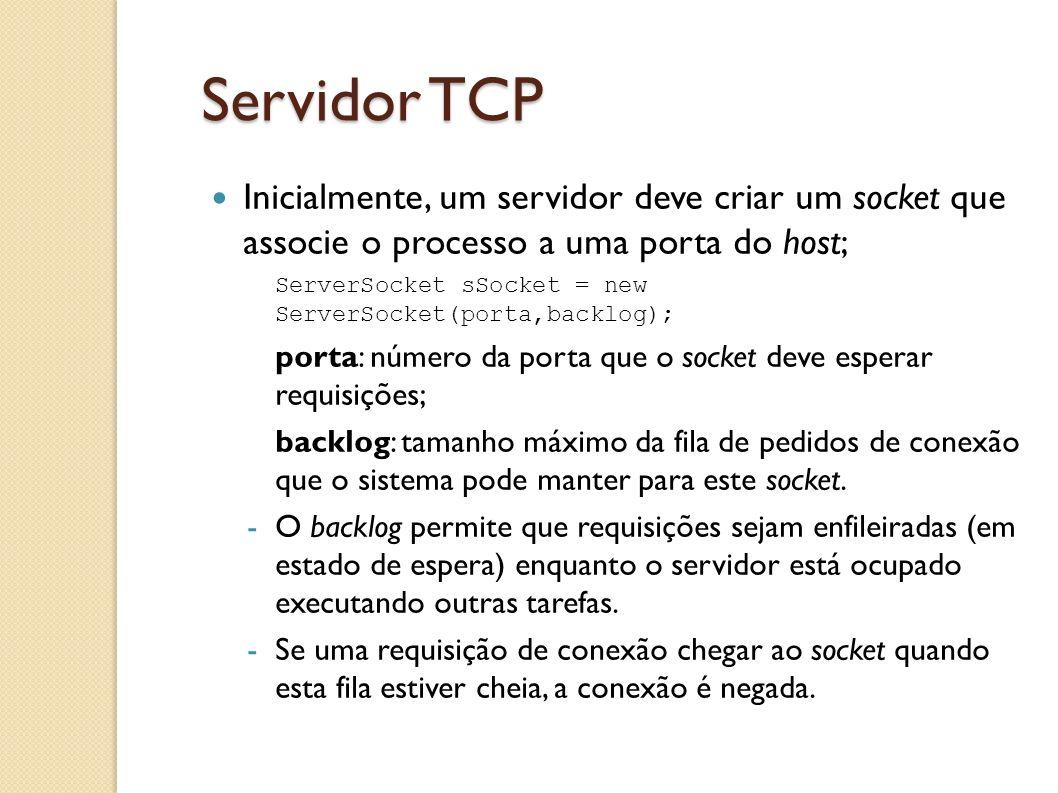 Servidor TCP Inicialmente, um servidor deve criar um socket que associe o processo a uma porta do host;