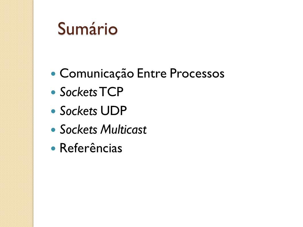 Sumário Comunicação Entre Processos Sockets TCP Sockets UDP