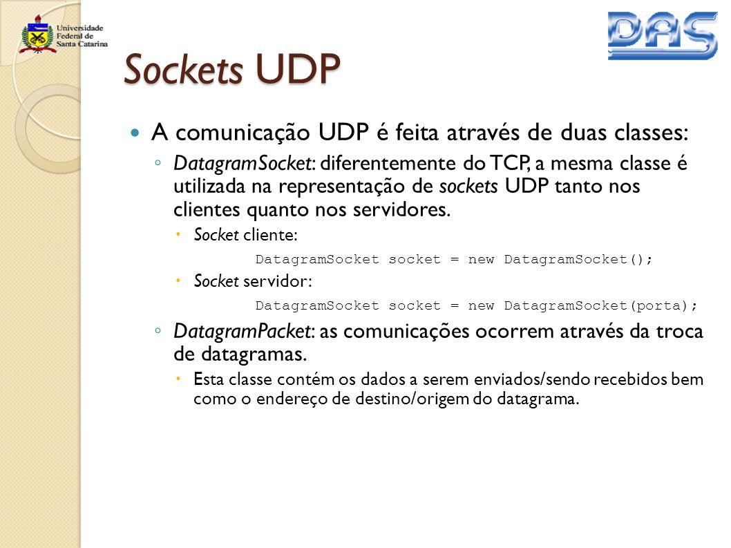 Sockets UDP A comunicação UDP é feita através de duas classes: