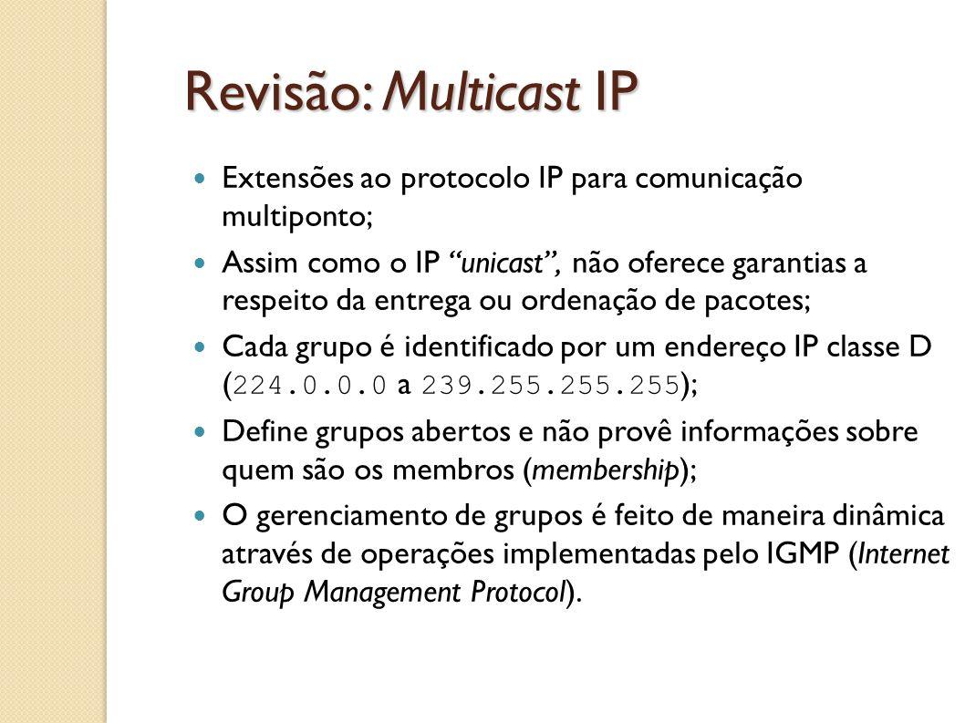Revisão: Multicast IP Extensões ao protocolo IP para comunicação multiponto;