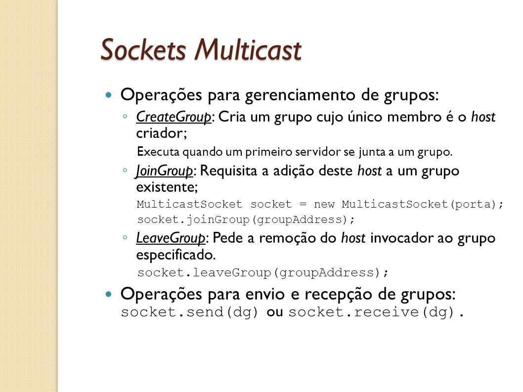 Sockets Multicast Operações para gerenciamento de grupos: