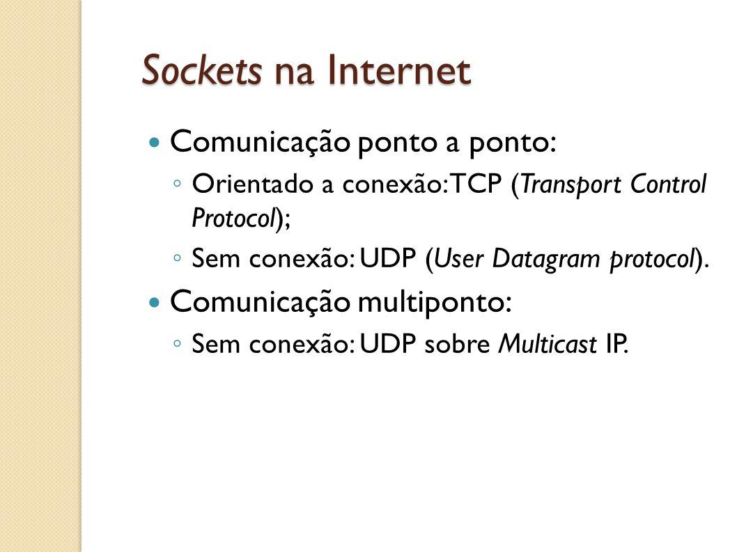 Sockets na Internet Comunicação ponto a ponto: Comunicação multiponto: