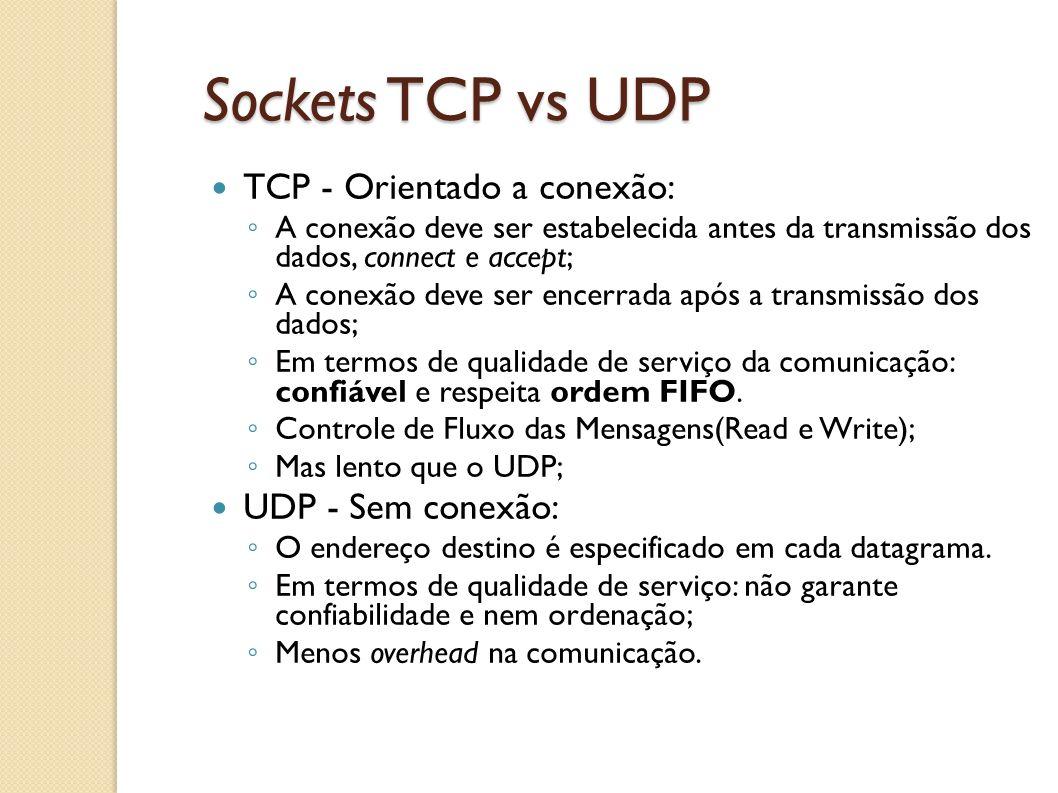 Sockets TCP vs UDP TCP - Orientado a conexão: UDP - Sem conexão:
