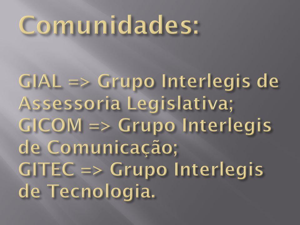 Comunidades: GIAL => Grupo Interlegis de Assessoria Legislativa; GICOM => Grupo Interlegis de Comunicação; GITEC => Grupo Interlegis de Tecnologia.