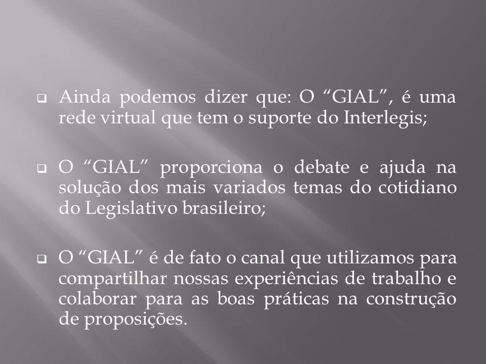 Ainda podemos dizer que: O GIAL , é uma rede virtual que tem o suporte do Interlegis;