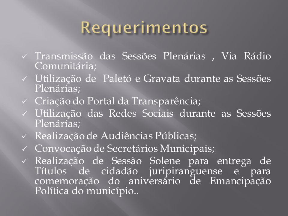 Requerimentos Transmissão das Sessões Plenárias , Via Rádio Comunitária; Utilização de Paletó e Gravata durante as Sessões Plenárias;