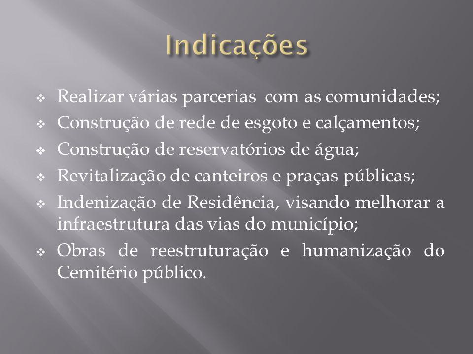 Indicações Realizar várias parcerias com as comunidades;