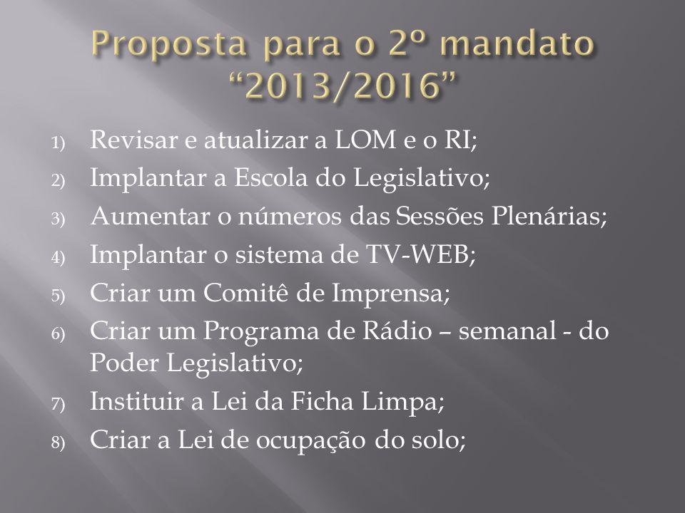 Proposta para o 2º mandato 2013/2016