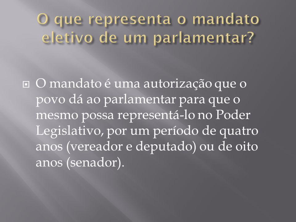 O que representa o mandato eletivo de um parlamentar