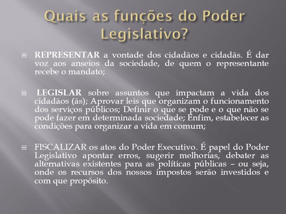 Quais as funções do Poder Legislativo