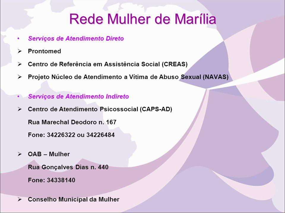 Rede Mulher de Marília Serviços de Atendimento Direto Prontomed