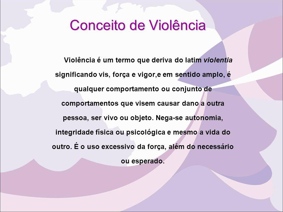 Conceito de Violência Violência é um termo que deriva do latim violentia. significando vis, força e vigor,e em sentido amplo, é.