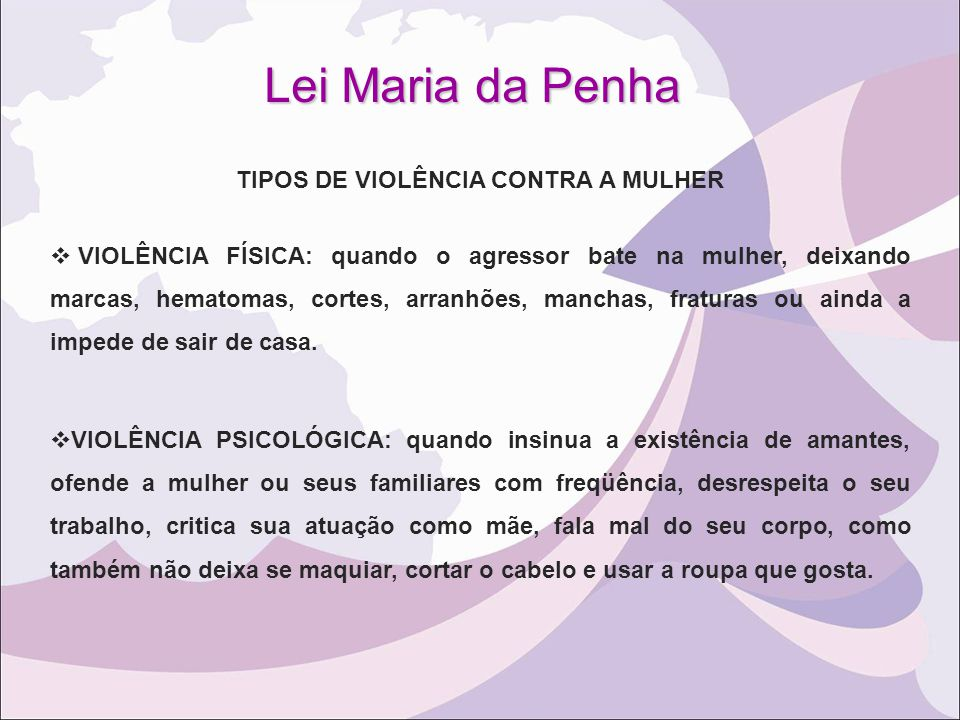 TIPOS DE VIOLÊNCIA CONTRA A MULHER