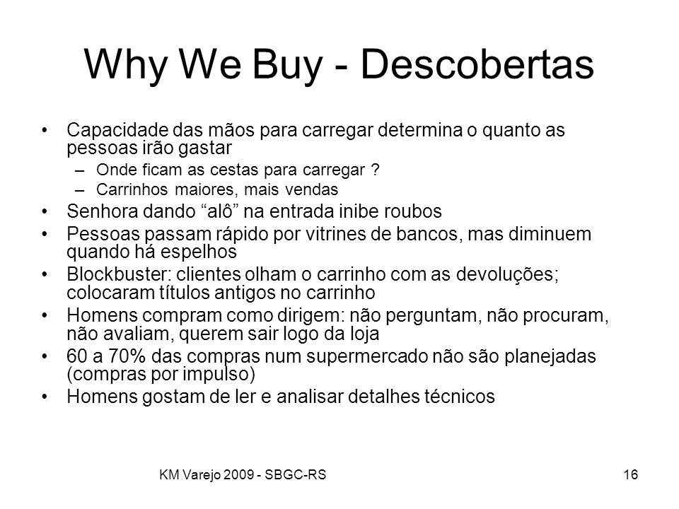 Why We Buy - Descobertas