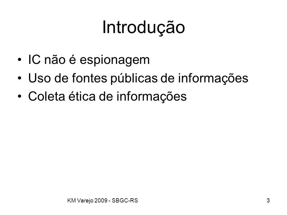 Introdução IC não é espionagem Uso de fontes públicas de informações