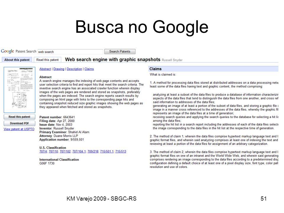 Busca no Google KM Varejo 2009 - SBGC-RS