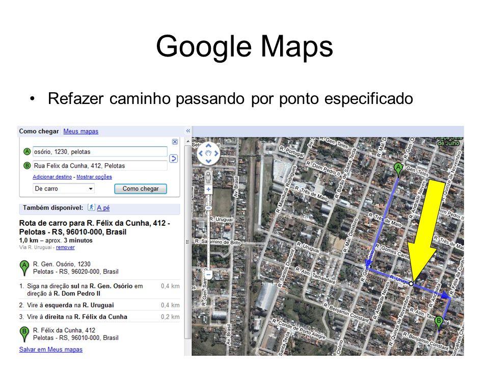 Google Maps Refazer caminho passando por ponto especificado