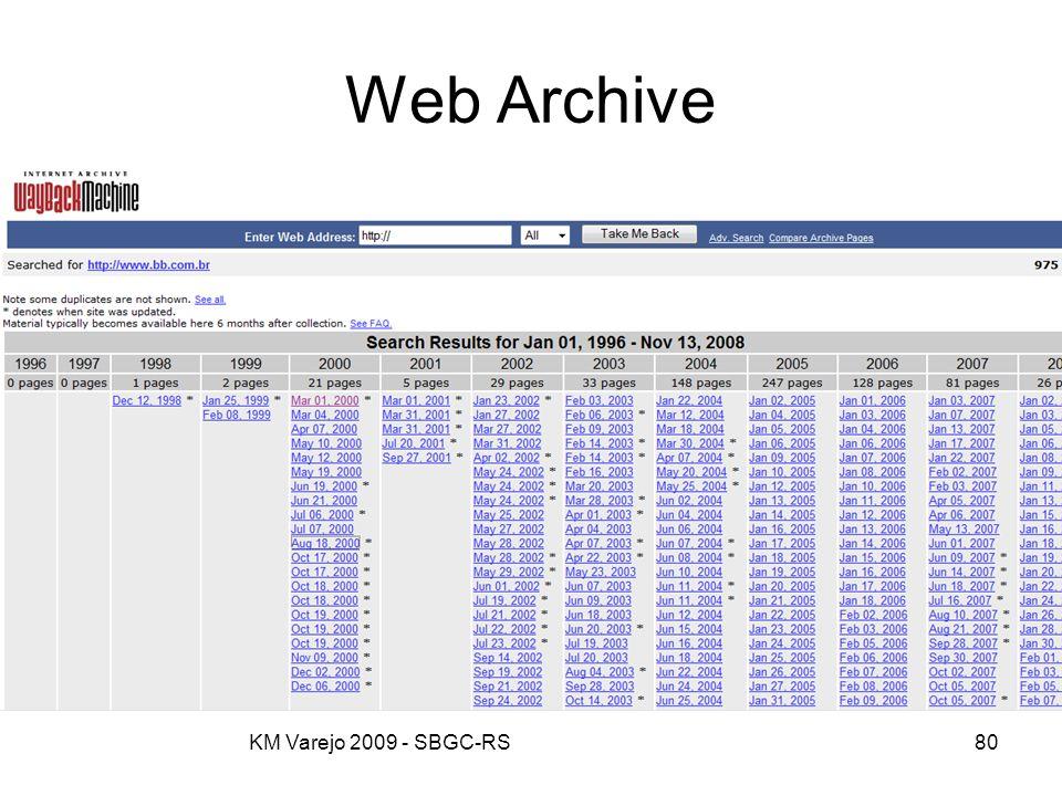 Web Archive KM Varejo 2009 - SBGC-RS