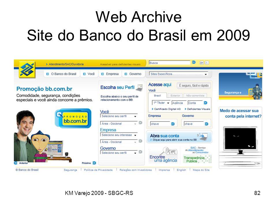 Web Archive Site do Banco do Brasil em 2009