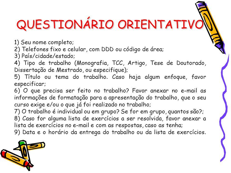 QUESTIONÁRIO ORIENTATIVO