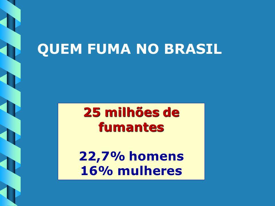 QUEM FUMA NO BRASIL 25 milhões de fumantes 22,7% homens 16% mulheres