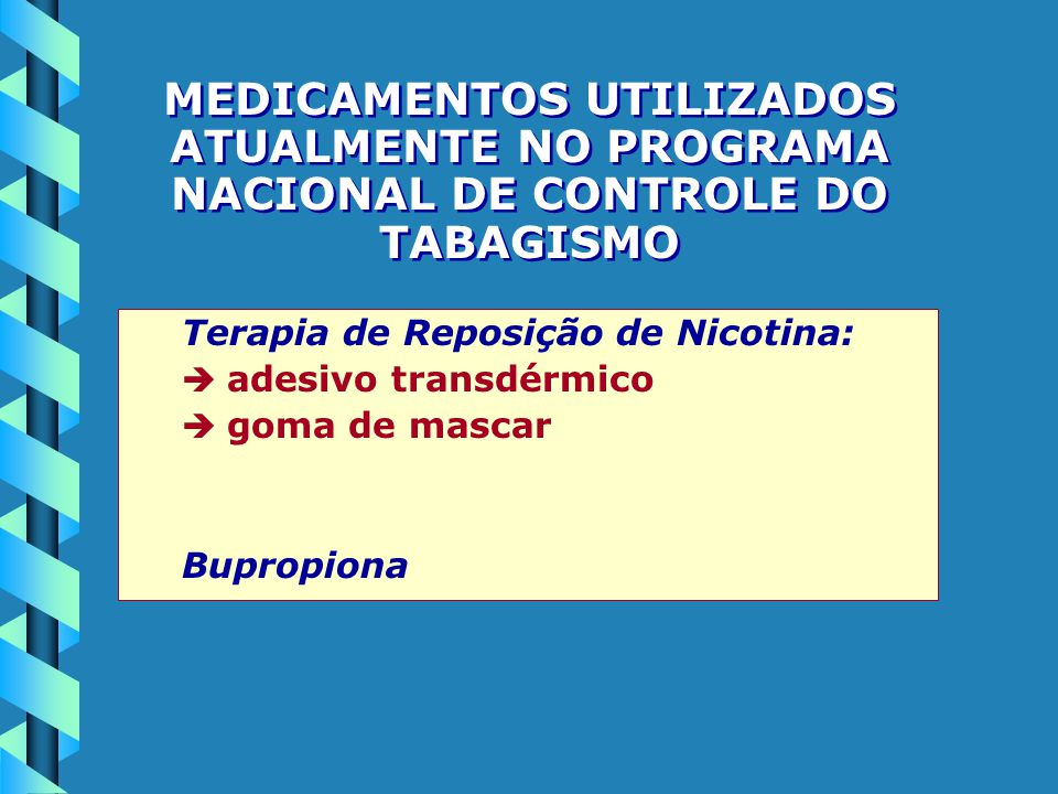 MEDICAMENTOS UTILIZADOS ATUALMENTE NO PROGRAMA NACIONAL DE CONTROLE DO TABAGISMO