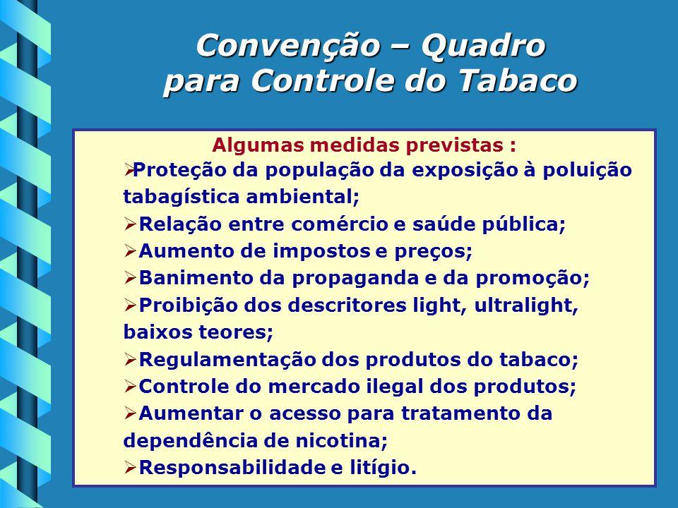 para Controle do Tabaco Algumas medidas previstas :