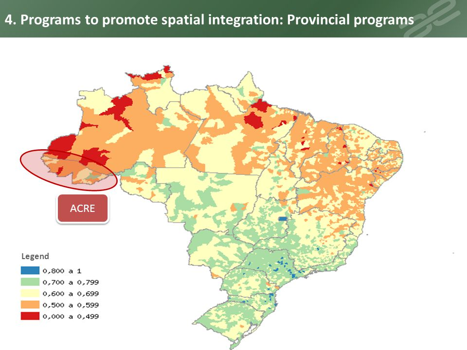 4. Programs to promote spatial integration: Provincial programs
